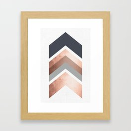 Grey, Bronze Chevron Home Decor Design Framed Art Print