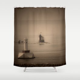 A Lighthouse & Beacon Shower Curtain