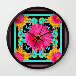 Western Black & Puce Pink Flower Blue Butterfly Yellow Floral Art Wall Clock
