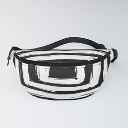 Minimal Black and White Square Rectangle Pattern Fanny Pack