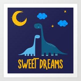 Dinosaurs At Night Blue Dinosaur Kids Pattern Art Print