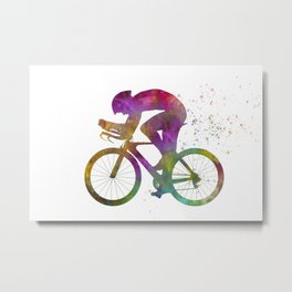 Male cyclist competing in watercolor 09 Metal Print