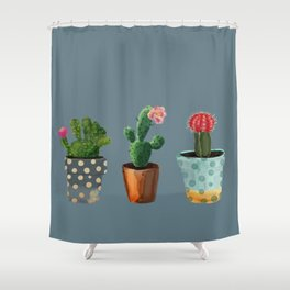 Three Cacti With Flowers On Blue Background Shower Curtain