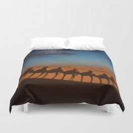 caravan camel desert morocco Duvet Cover