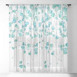 string of hearts watercolor Sheer Curtain
