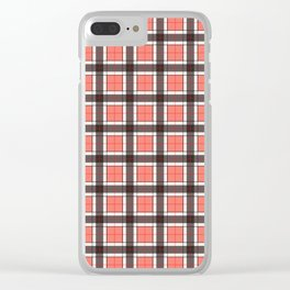 Salmon Pink Plaid Pattern Clear iPhone Case