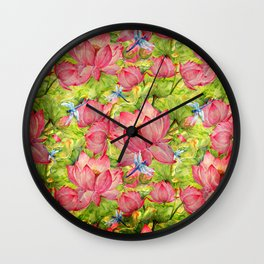 Floral Lotus Flowers Pattern with Dragonfly Wall Clock