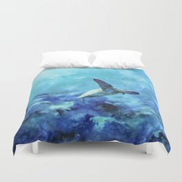 Sea Turtle Into The Deep Blue Duvet Cover