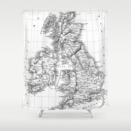 Vintage Map of The British Isles (1864) BW Shower Curtain