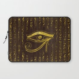 Golden Egyptian Eye of Horus  and hieroglyphics on wood Laptop Sleeve