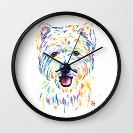 Westie Colorful Pet Portrait Watercolor Painting Wall Clock