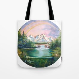 Rainbow in mountains. landscape art Tote Bag