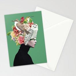 Lady with Birds(portrait) 2 Stationery Cards