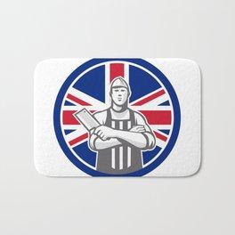 British Butcher Front Union Jack Flag Icon Bath Mat