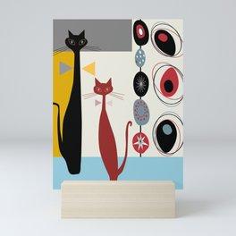 Mid-Century Modern Art Cats Mini Art Print