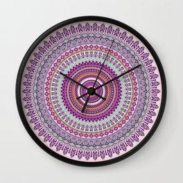 Pastel Mandala in shades on pink and purple Wall Clock