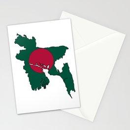 Bangladesh Map with Bangladeshi Flag Stationery Cards
