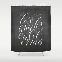 los angeles Shower Curtains featuring Los Angeles by Molly Suber Thorpe