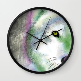Neon Wolf Wall Clock