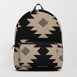 Southwestern Pattern 521 Black and Beige Backpack