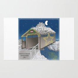 Vermont Covered Bridge at Christmas - Zentangle Illustration Rug