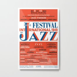 Vintage 1949 Paris International Jazz Festival Poster Metal Print