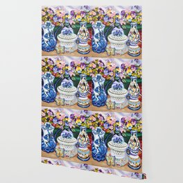 Pansies and Teapot oil Still Life Wallpaper