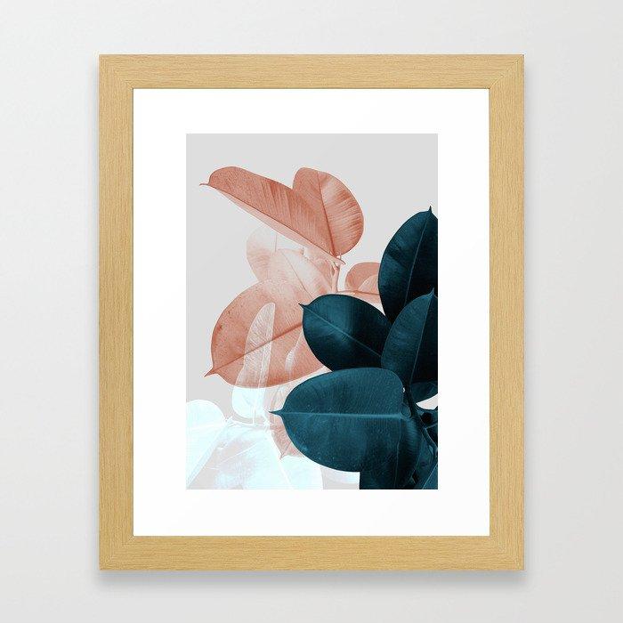 Blush & Blue Leaves Gerahmter Kunstdruck