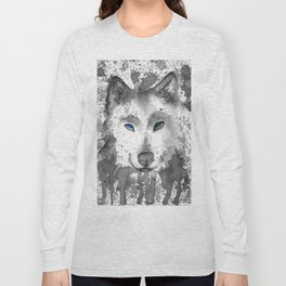 black and white : wolf Long Sleeve T-shirt