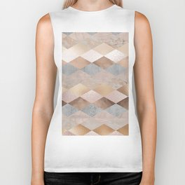 Copper and Blush Rose Gold Marble Argyle Biker Tank