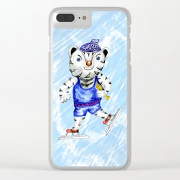 Sporty White Tiger Skating Clear iPhone Case