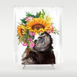 Sloth with Sunflower Crown Shower Curtain