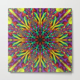 Crazy colors 3D mandala Metal Print