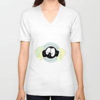 big bang V-neck T-shirts featuring Kiss kiss big bang by Cecile Psicheer