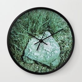 GREEN PICTURE OF A ROCK Wall Clock