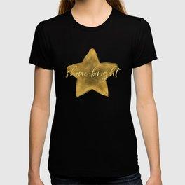 Gold Sky Blue Watercolor Stars Shine Bright T-shirt
