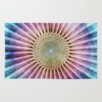 tie dye Area & Throw Rugs featuring Textured Mandala Tie Dye by Phil Perkins