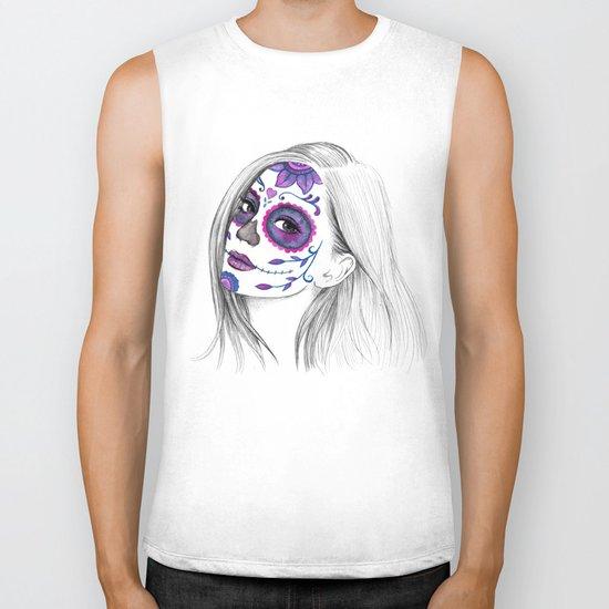 Sugar Skull Girl Biker Tank