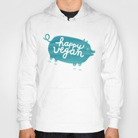vegan Hoodies featuring Happy Vegan by Anke Weckmann
