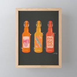 Kombucha Bottles - Charcoal Palette Framed Mini Art Print