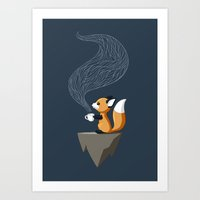 orange Art Prints featuring Fox Tea by Freeminds