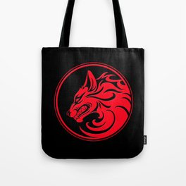 Red and Black Growling Wolf Disc Tote Bag