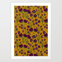 Purple and Gold Floral Seamless Illustration Art Print