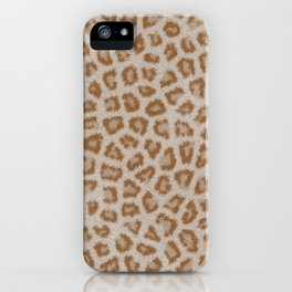 Hipster white brown cheetah animal print pattern iPhone Case