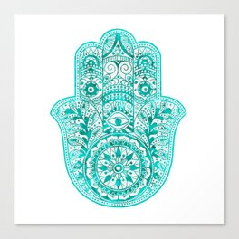 Turquoise Watercolor Hamsa Hand Canvas Print