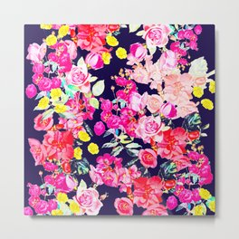 Summer Bright Antique Floral Print with Hot Pink, Yellow, and Navy V2 Metal Print