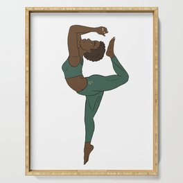 Black Yogi in Kemetic Yoga Pose - Forest Green Workout Serving Tray