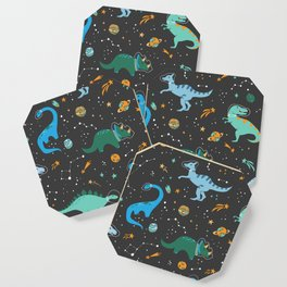 Dinosaurs in Space in Blue Coaster
