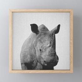 Rhino - Black & White Framed Mini Art Print