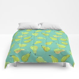 Pears on Turquoise Comforters